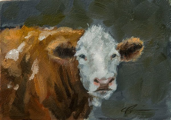 """Brown Cow"" original fine art by Clair Hartmann"
