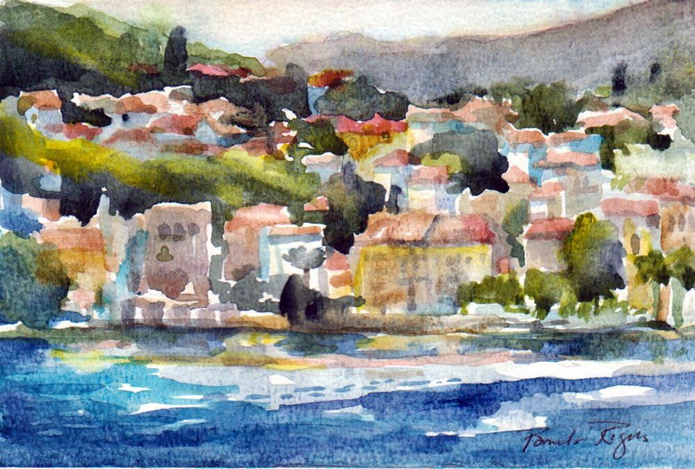 """Croatian Coastline near Split"" original fine art by Pamela Jane Rogers"