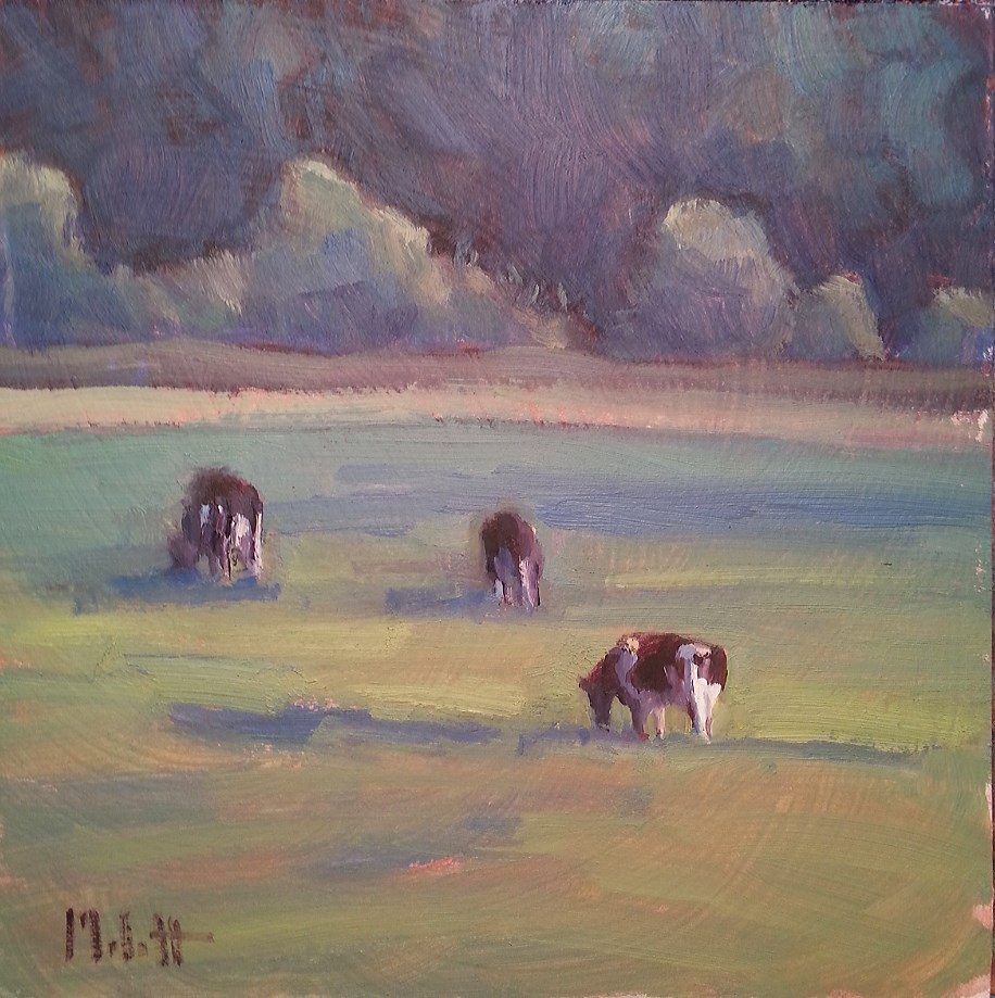 """Cow Painting Holstein Grazing Rural Landscape"" original fine art by Heidi Malott"