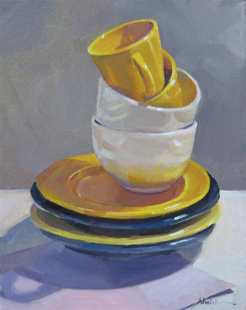 """Blue and Yellow Stack"" original fine art by Sarah Sedwick"