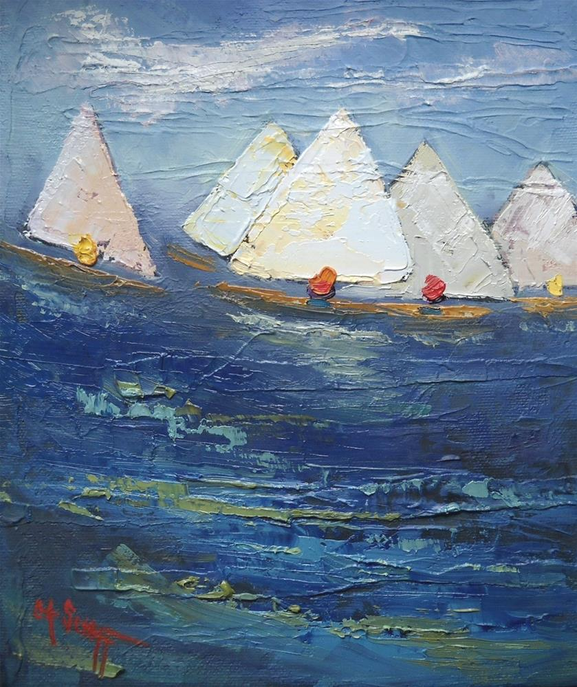 """Sailboat Painting, Small Oil Painting, Swirl by Carol Schiff, 10x8x.75 Oil"" original fine art by Carol Schiff"