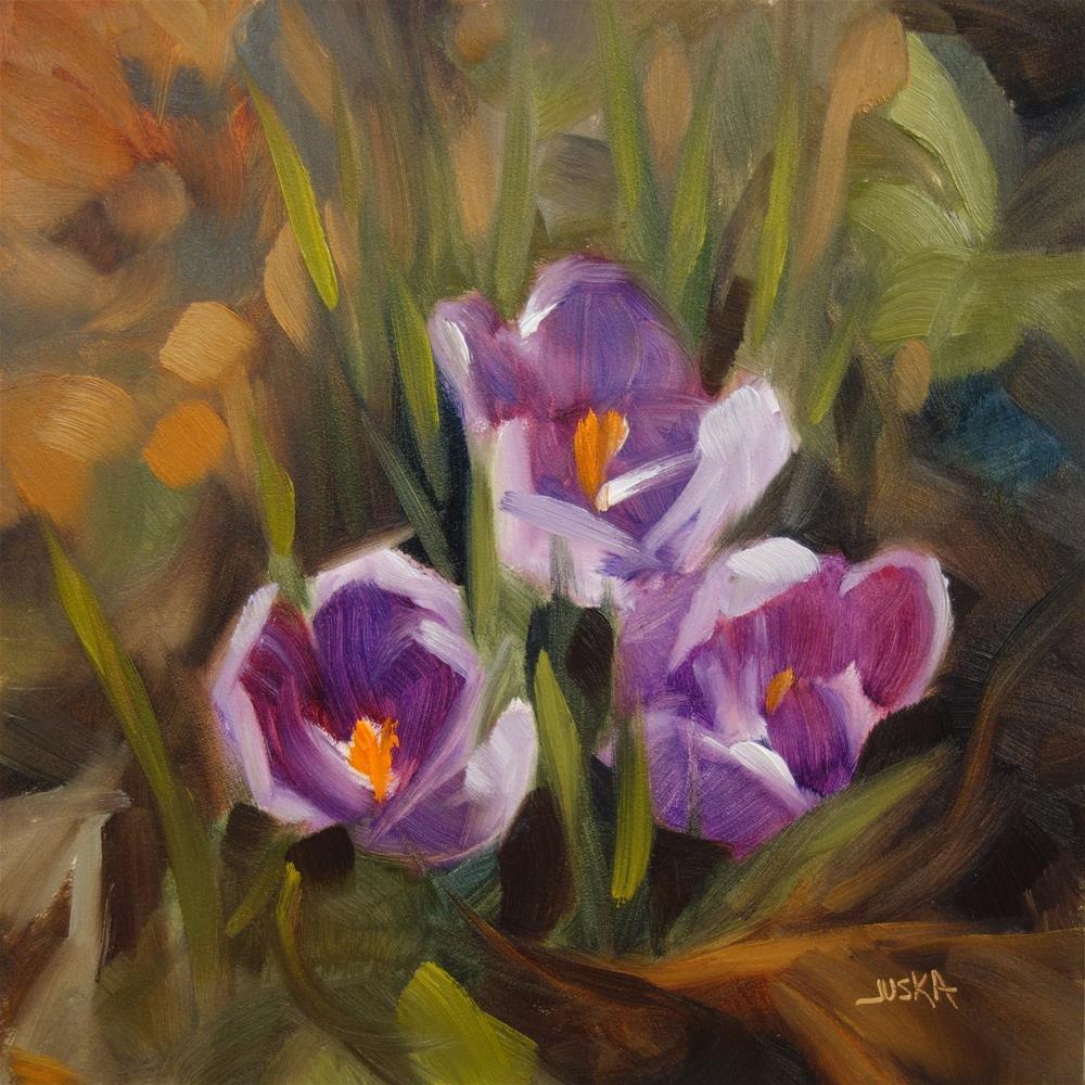 """Purple Crocus"" original fine art by Elaine Juska Joseph"