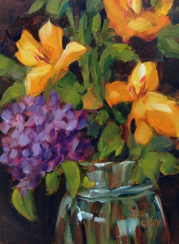 """Yellow lilies"" original fine art by Libby Anderson"