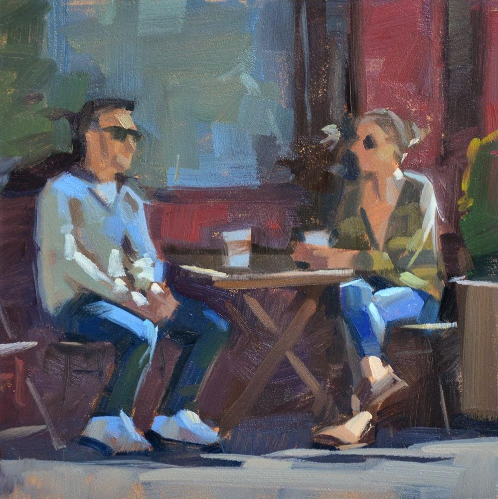 """Coffee Date"" original fine art by Carol Marine"