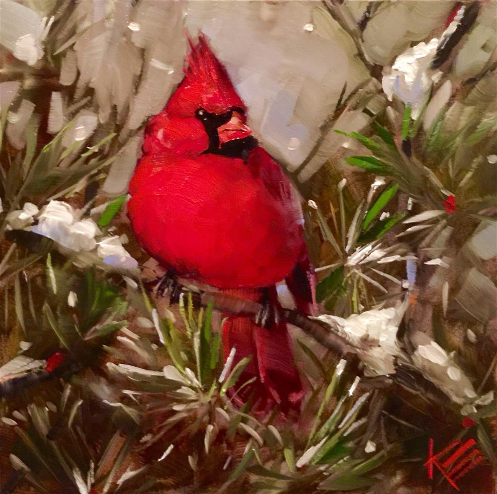 """Christmas Cardinal"" original fine art by Krista Eaton"