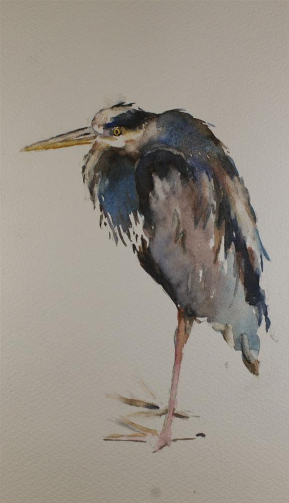 """HH Heron"" original fine art by Sue Churchgrant"