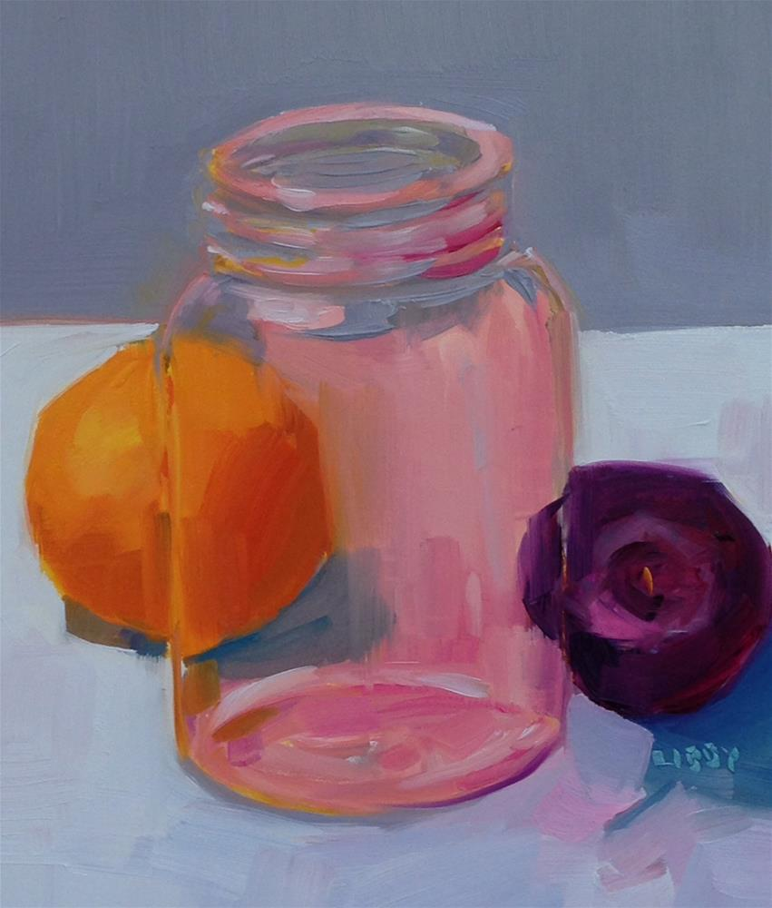 """Pink Jar and Plum"" original fine art by Libby Anderson"