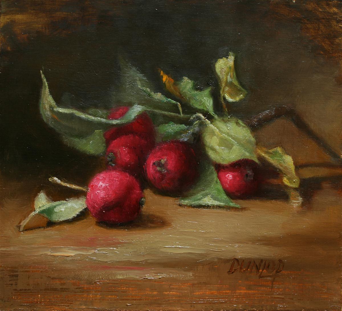 """Crabapples"" original fine art by Bobbi Dunlop"