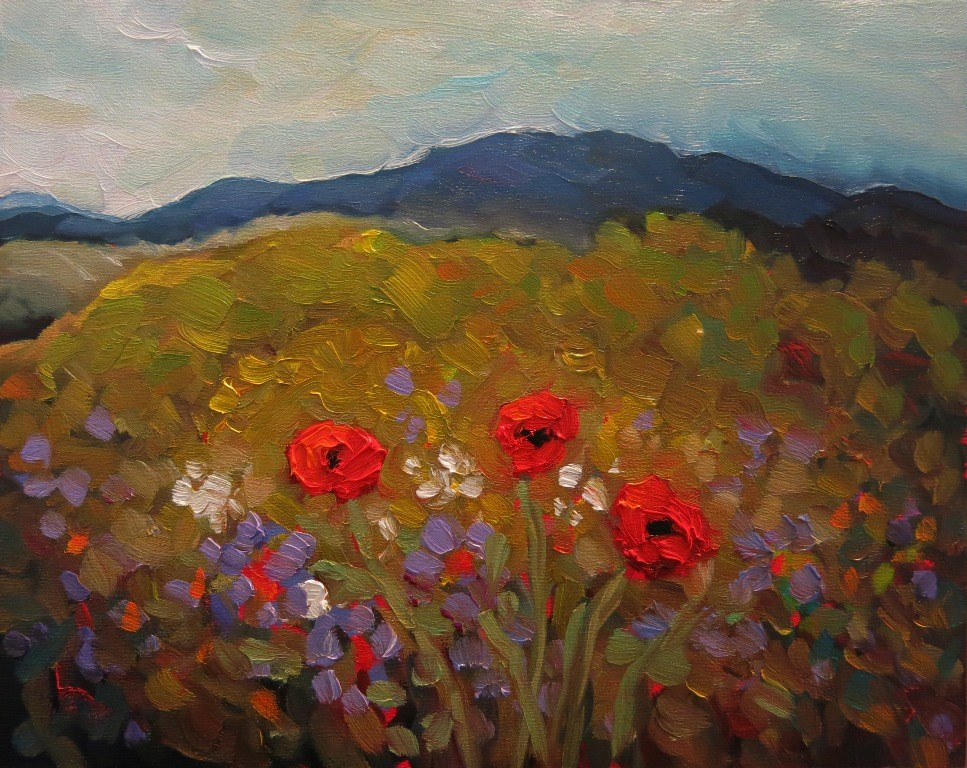"""#128  MOUNTAIN POPPIES"" original fine art by Dee Sanchez"
