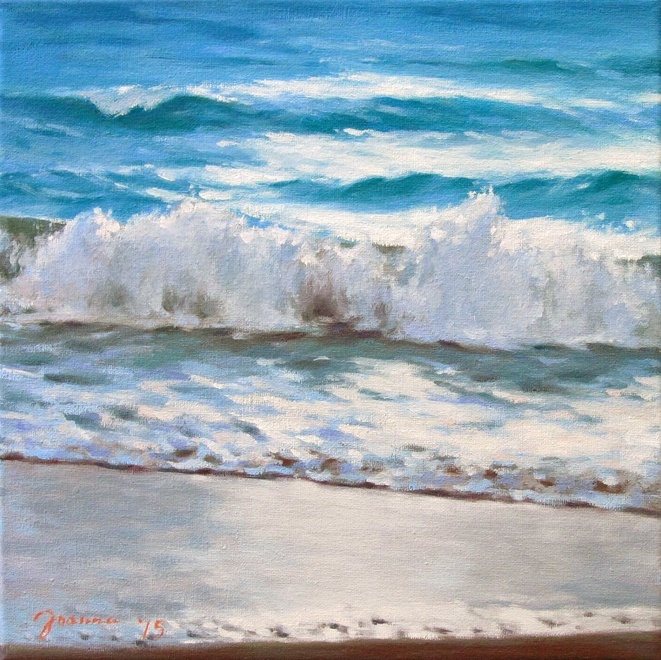 """Waves On The Shore"" original fine art by Joanna Bingham"