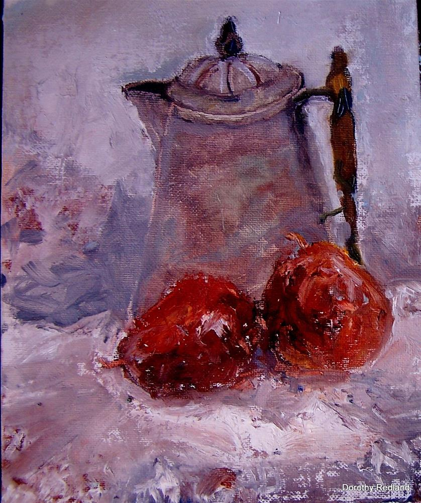 """Old teapot and pears"" original fine art by Dorothy Redland"