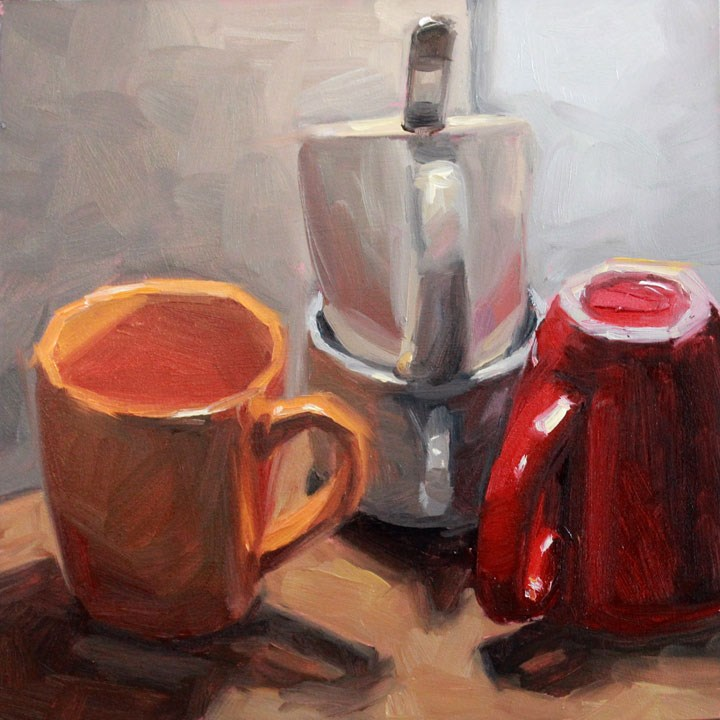 """Four Cups and a Spoon"" original fine art by Nealy May Riley"