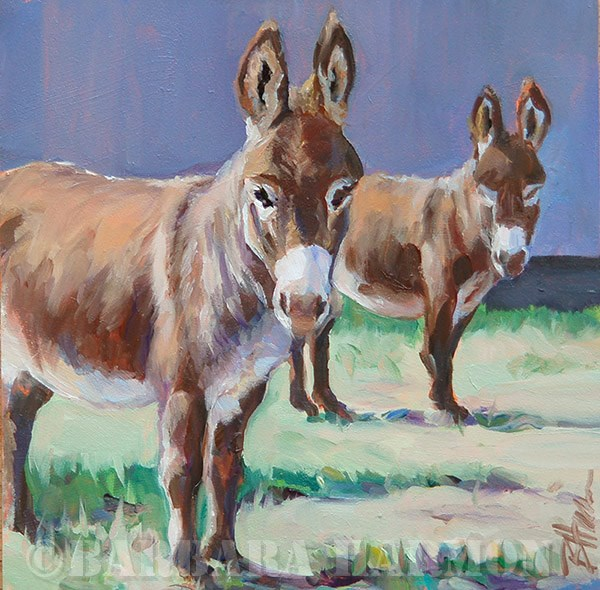 """Donkey Duo"" original fine art by Barbara Harmon"