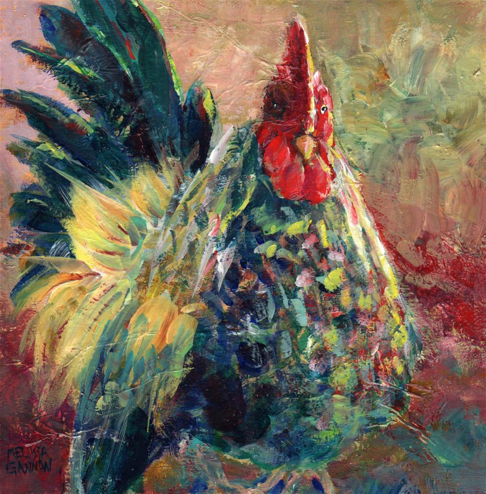 """Rooster Attitude"" original fine art by Melissa Gannon"