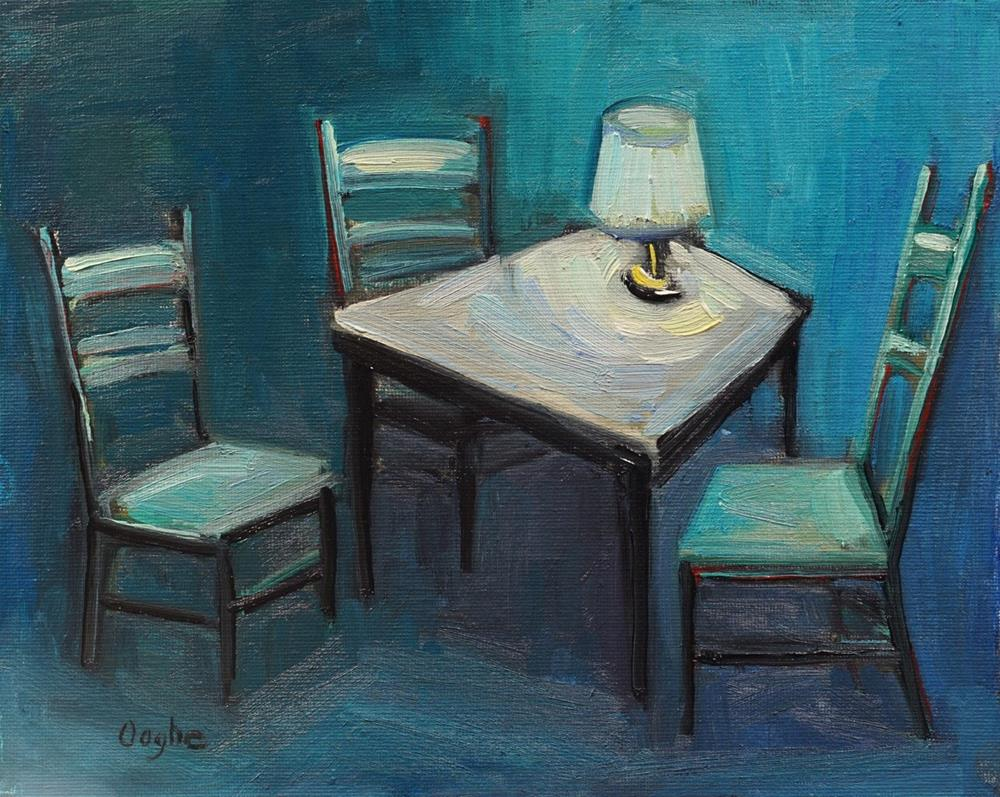 """Table, chairs, lamp"" original fine art by Angela Ooghe"