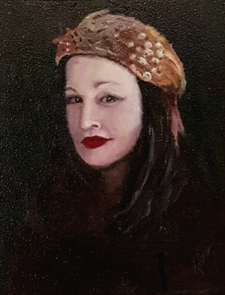 """""""The Feathered Hat"""" original fine art by Karla Uphoff"""