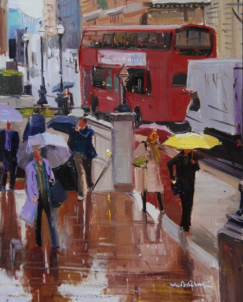 """Rain and Reflections in the City of London"" original fine art by Adebanji Alade"