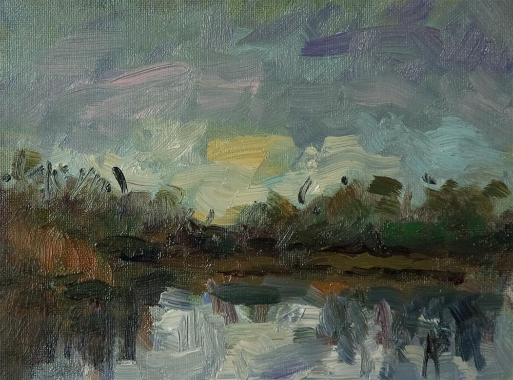 """""""Sky, Trees and Lake"""" original fine art by Andre Pallat"""