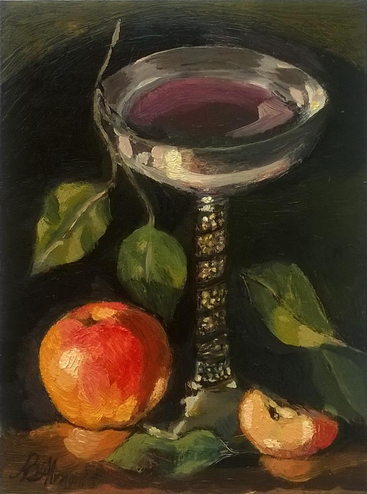 """Silver Goblet with Apples"" original fine art by Adriana B. Almquist"