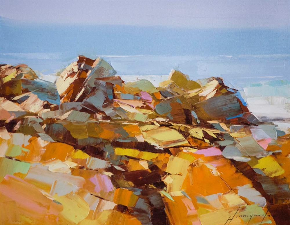 """Ocean Cliffs"" original fine art by V Yeremyan"