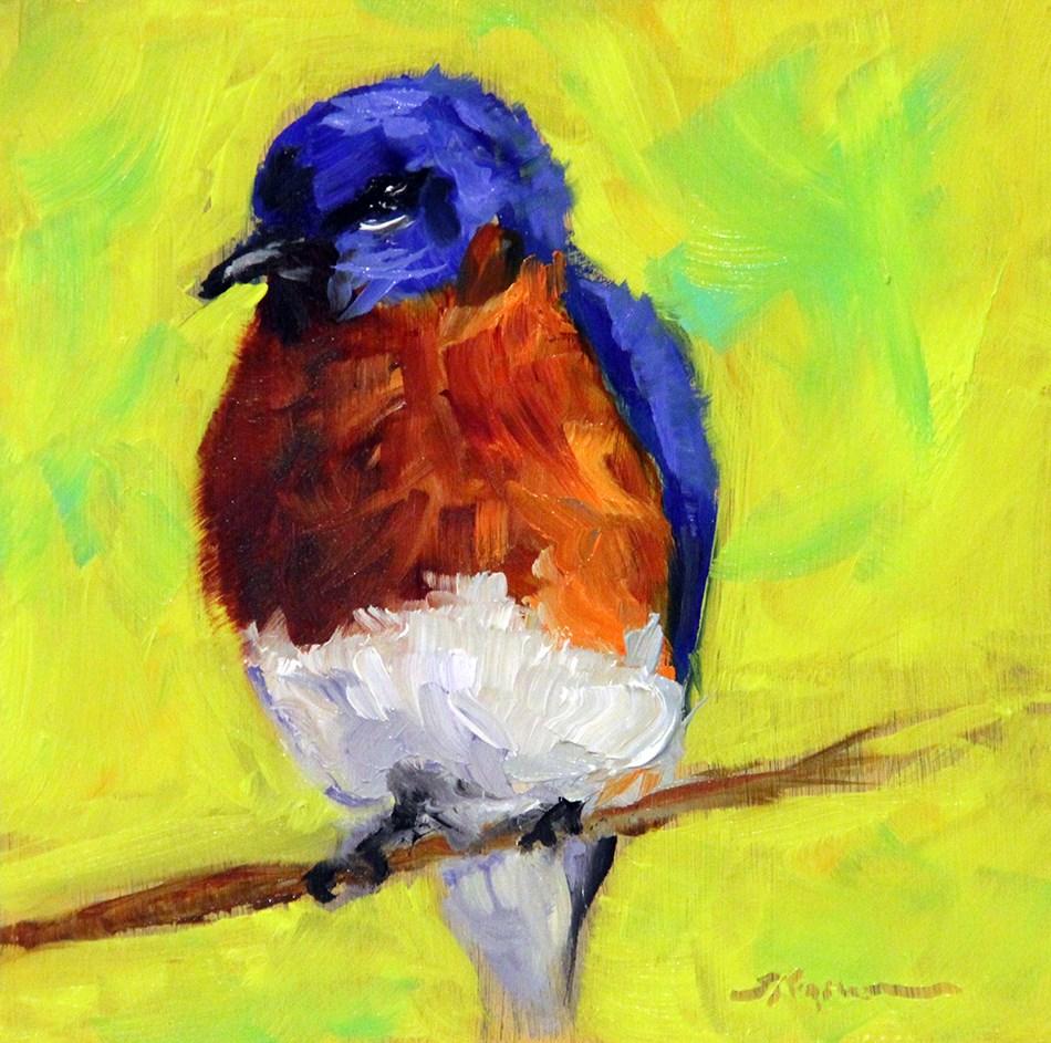 """""""Puffed Up Bluebird"""" original fine art by Shelley Koopmann"""