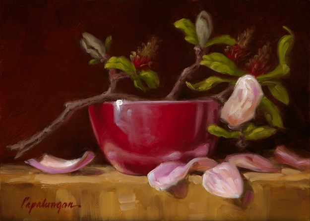 """Magnolias... A Little Late"" original fine art by David Capalungan"