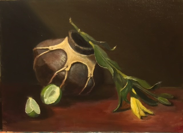 """Pottery with Limes"" original fine art by Cheryl J Smith"