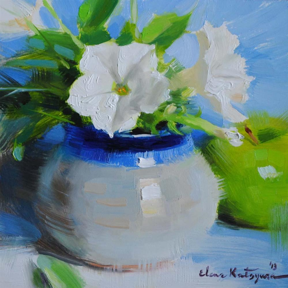 """White Petunias"" original fine art by Elena Katsyura"