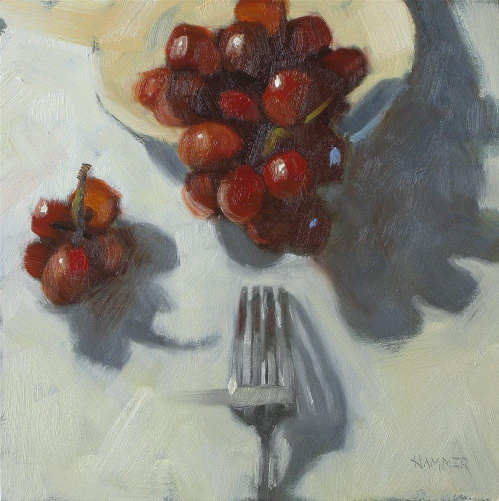 """Red Grapes 6x6 oil"" original fine art by Claudia Hammer"