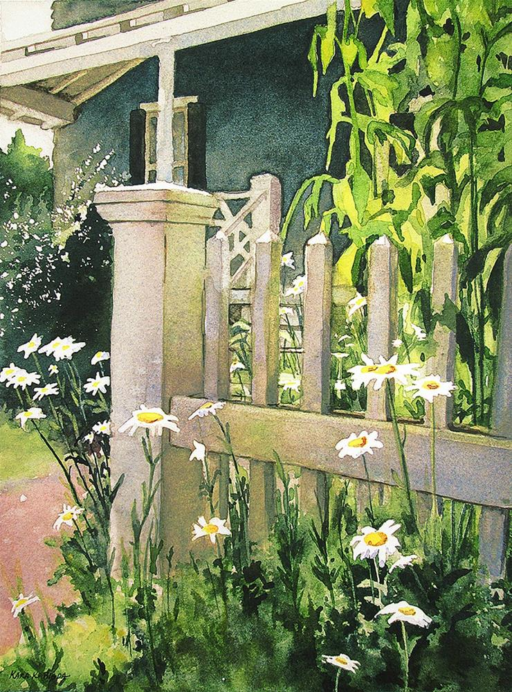 """Picket Fence Daisies"" original fine art by Kara K. Bigda"