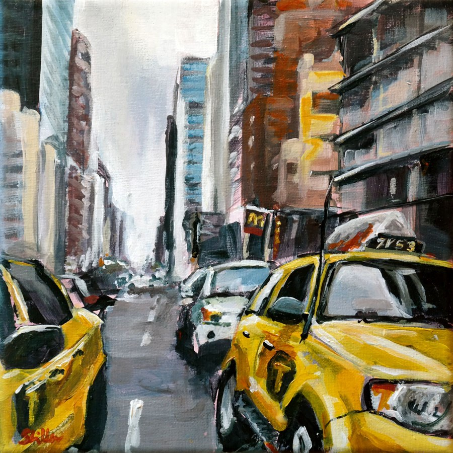 """1427 Yellow Cabs"" original fine art by Dietmar Stiller"