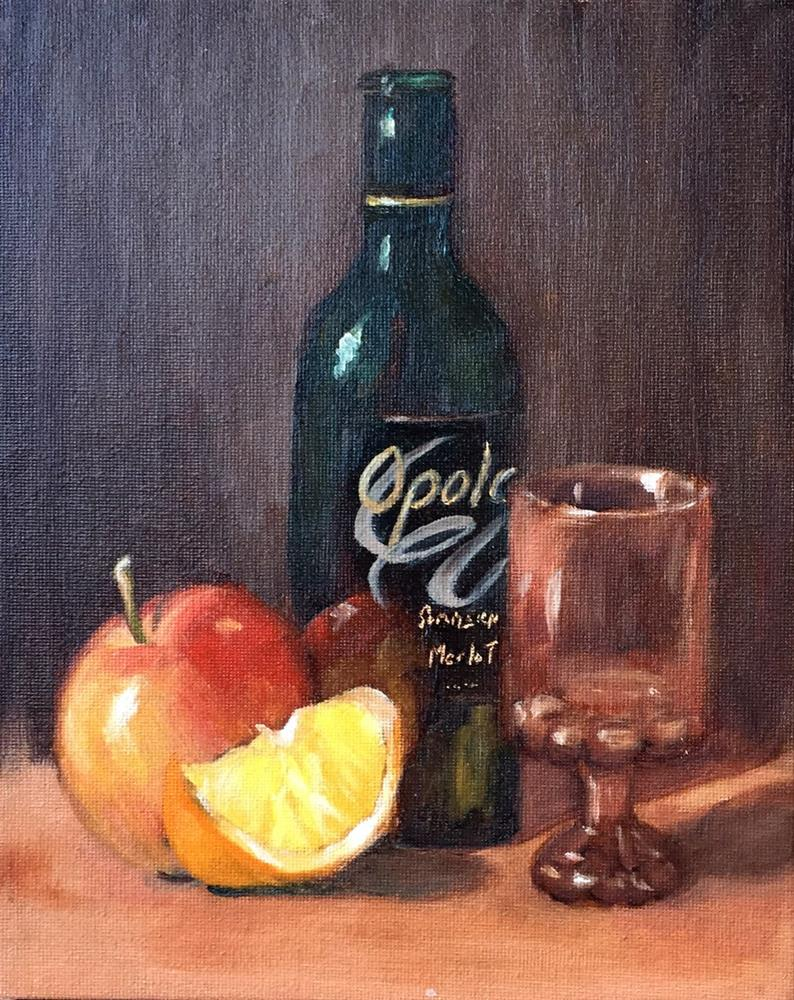 """Wine & Fruit"" original fine art by Dicksie McDaniel"