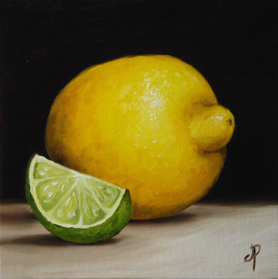 """Lemon and Lime & little Doughnut"" original fine art by Jane Palmer"