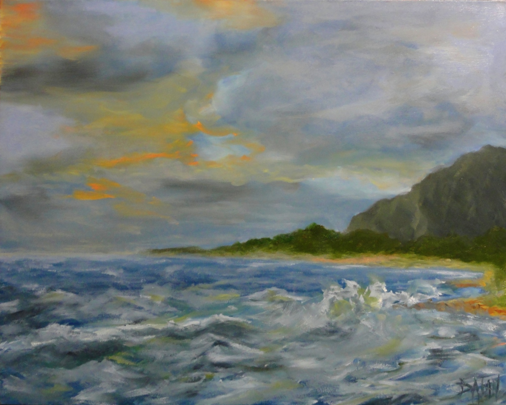 """Sunset In Hau'ula North Shore Hawaii"" original fine art by Dalan Wells"