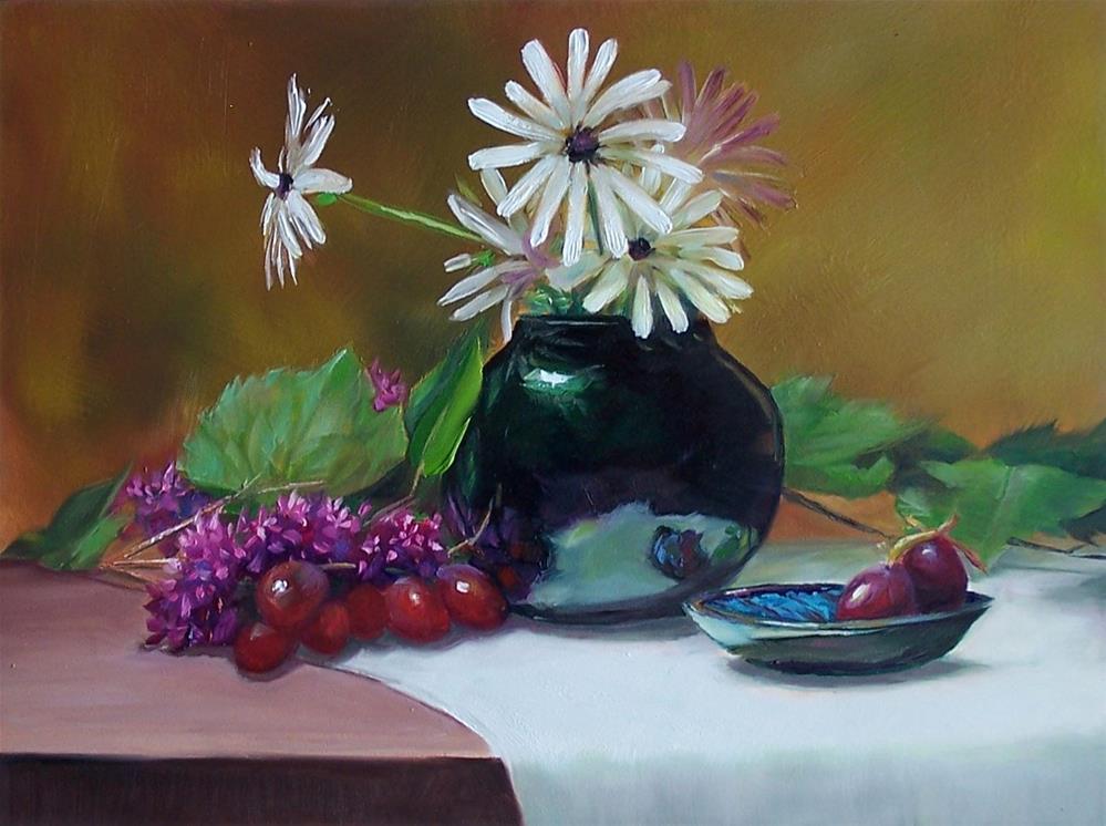 """""""White Daisies"""" original fine art by Donna Munsch"""