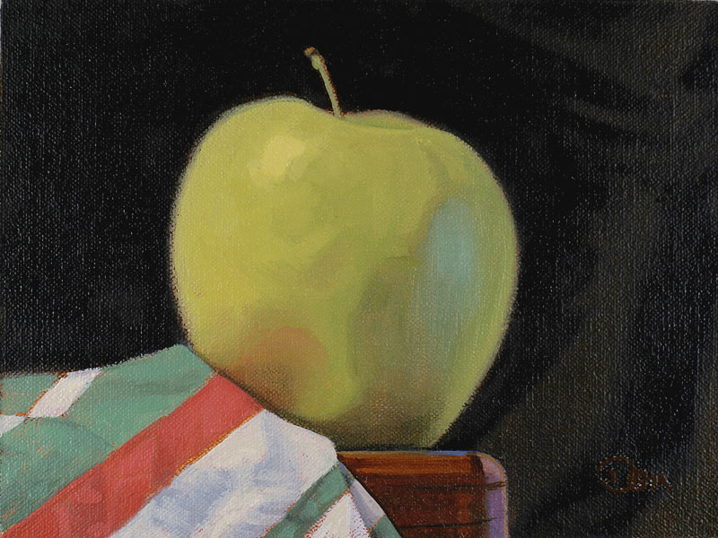 """Green Apple and Striped Cloth"" original fine art by Don Stewart"