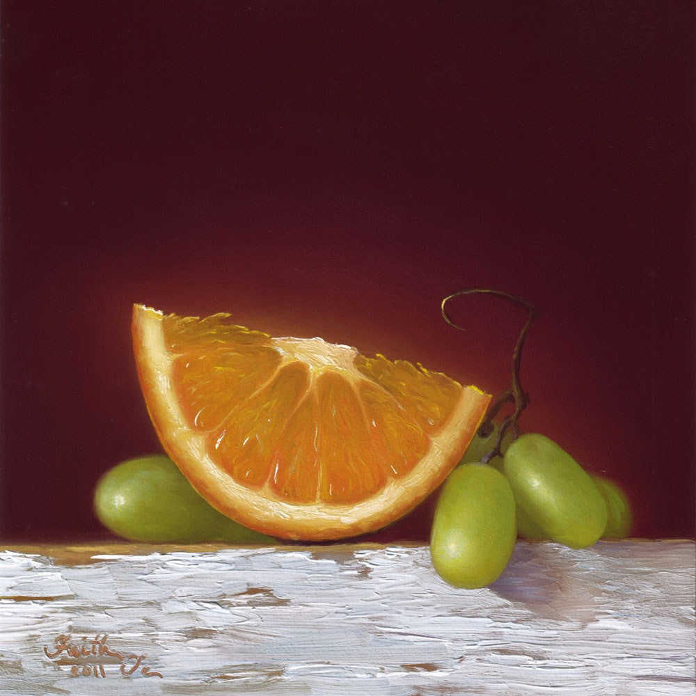 """Orange with Green Grapes"" original fine art by Faith Te"
