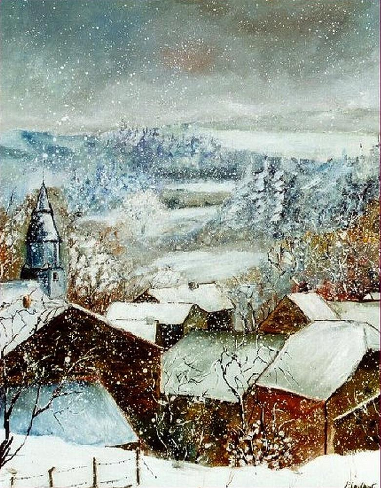"""Snow in Ouroy"" original fine art by Pol Ledent"