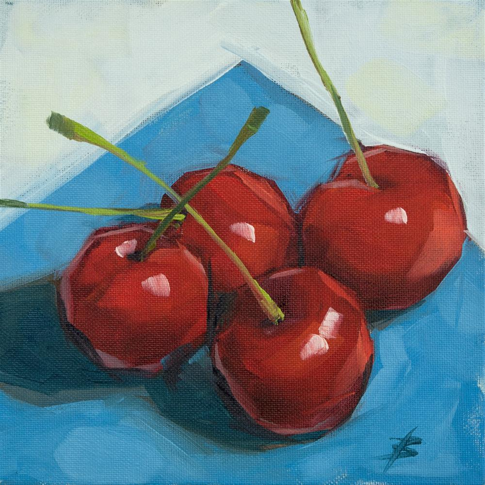 """Cherries on Paper"" original fine art by David Bates"