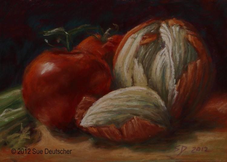 """""""Tomato and Onion Still Life"""" original fine art by Sue Deutscher"""