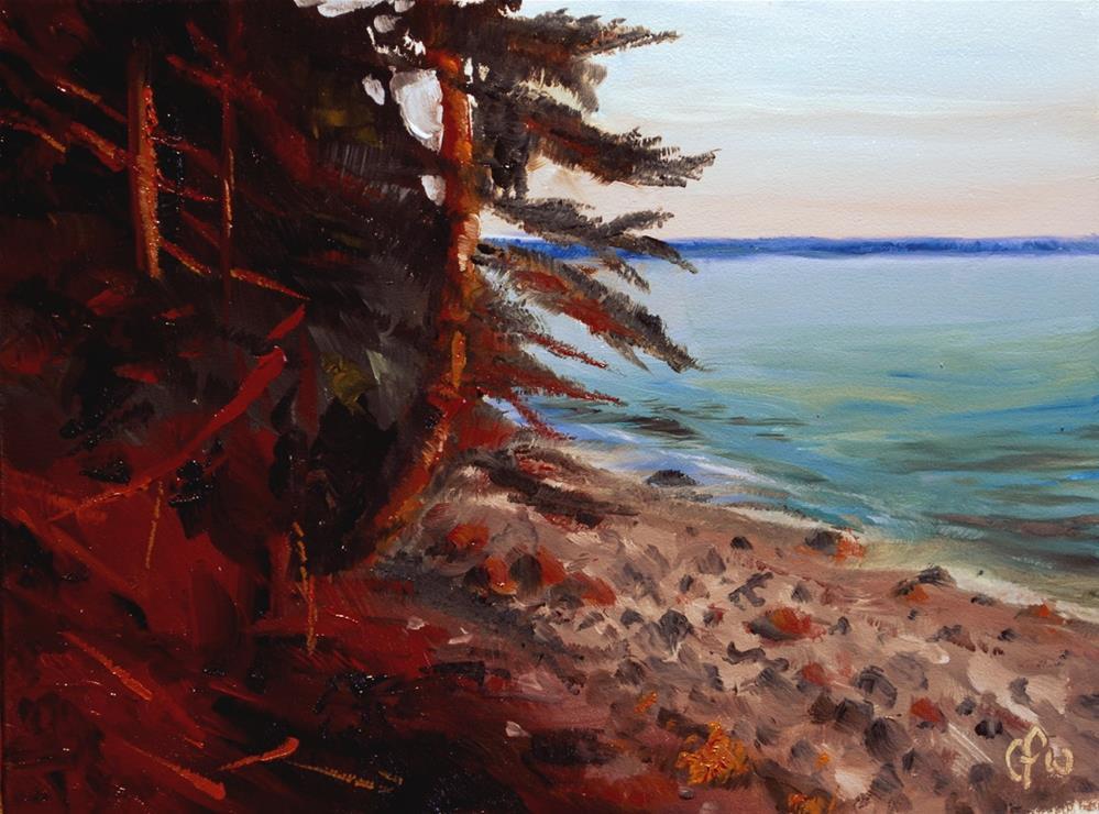 """Sunset on a Rocky Shore"" original fine art by Gary Westlake"