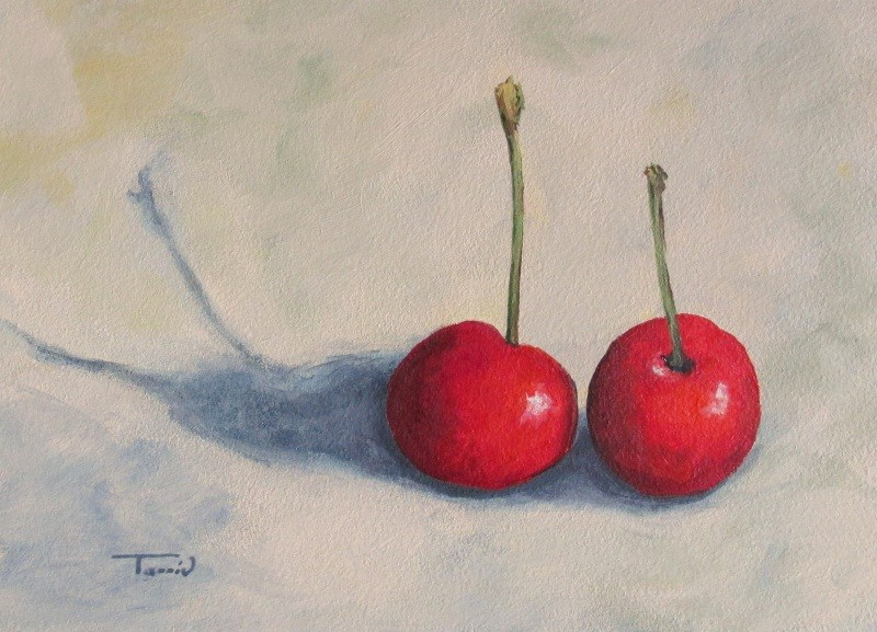 """Red Cherries II"" original fine art by Torrie Smiley"