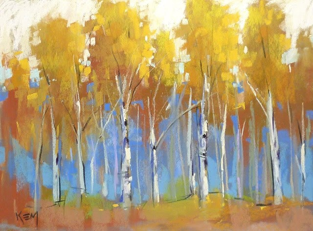 """The End of a Series...Which Yellow Pastels for Aspens?"" original fine art by Karen Margulis"