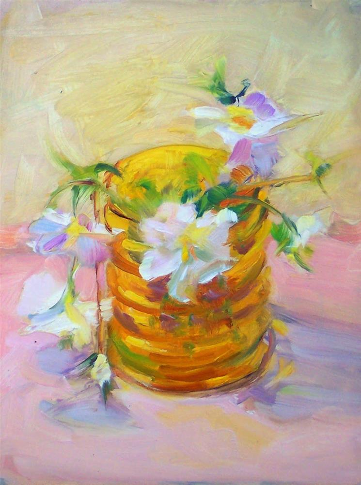 """Pansies in Amber Vase,still life,oil on canvas,8x6,price$225"" original fine art by Joy Olney"