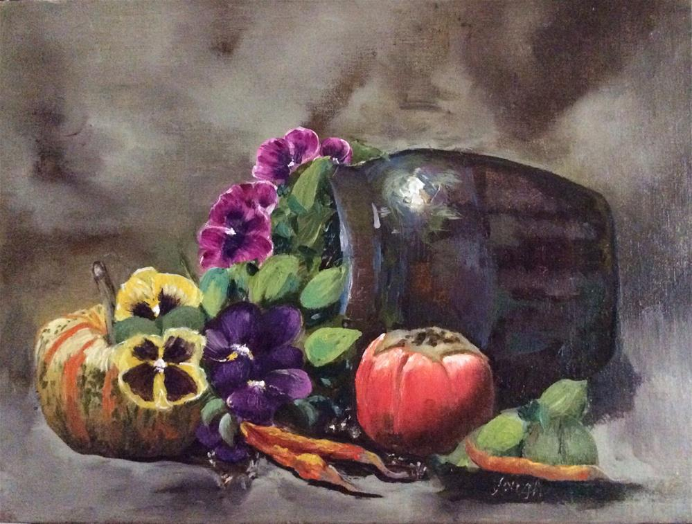"""Crocked Pansies"" original fine art by Charlotte Lough"