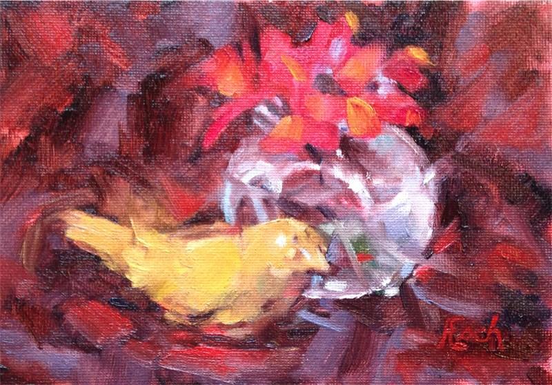 """""""Yellow Bird Salt Shaker and Geranium"""" original fine art by Audra Esch"""