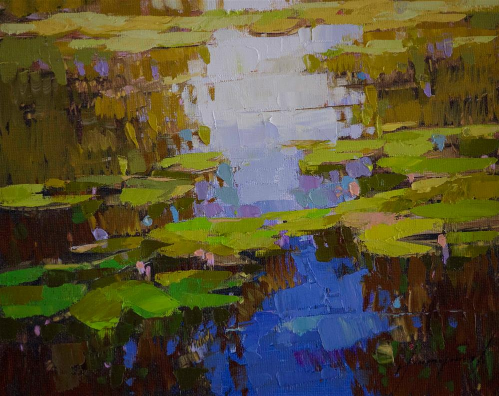 """Waterlilies Handmade oil Painting Signed with Certificate of Authenticity"" original fine art by V Yeremyan"