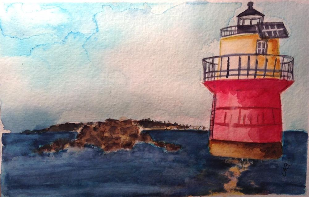 """Massachusetts Lighthouse watercolor / ink 6 x 9"" original fine art by Nancy Beard"