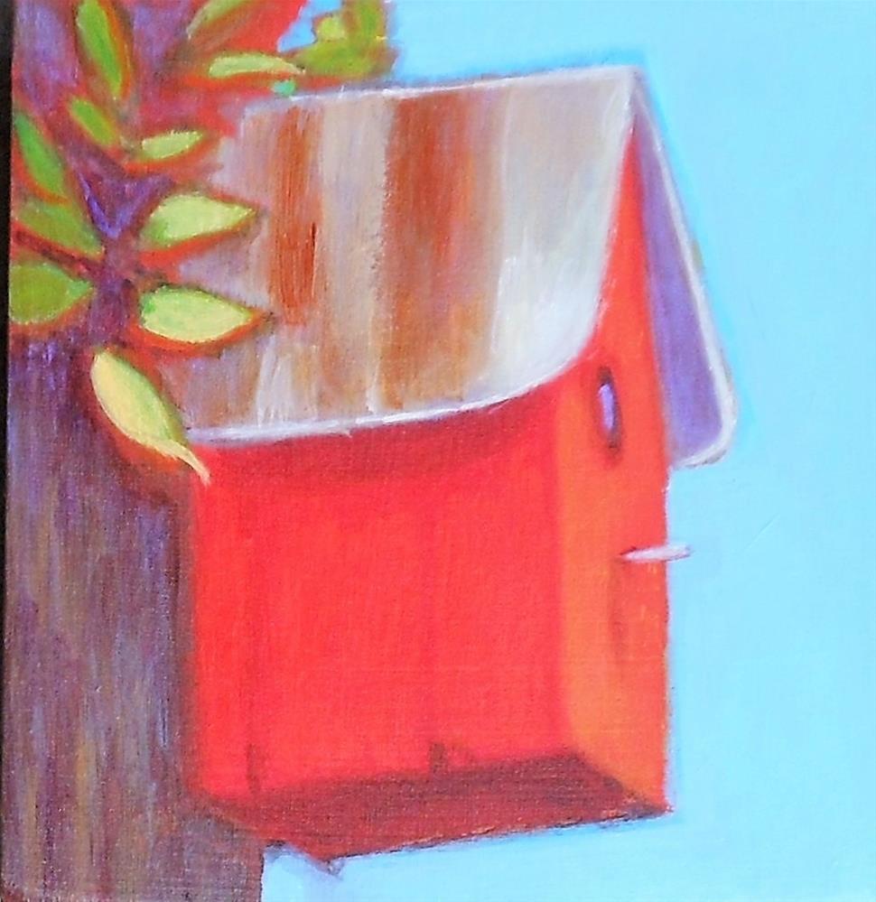 """Red Birdhouse"" original fine art by Almira Hill Grammer"