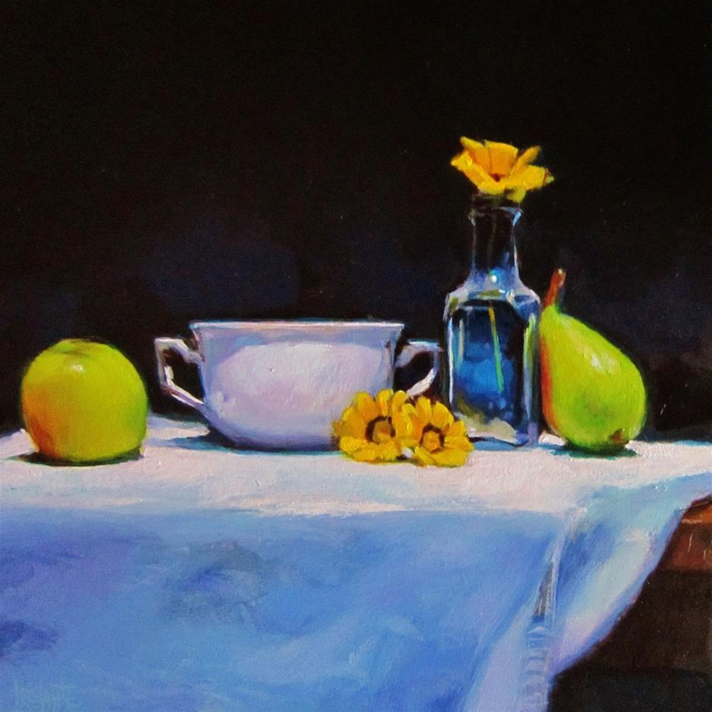 """Bottle with flower"" original fine art by Víctor Tristante"